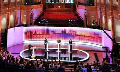 David Cameron, Gordon Brown and Nick Clegg in the third leaders' debate in Birmingham