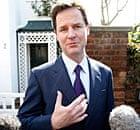 Nick Clegg speaking to the media yesterday