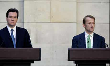 George Osborne and David Laws outline plans to tackle the deficit on 24 May 2010
