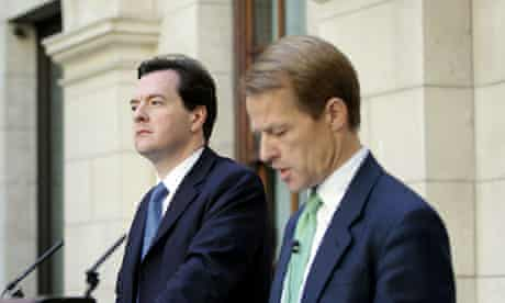 George Osborne and David Laws outline plans to cut the deficit on 24 May 2010