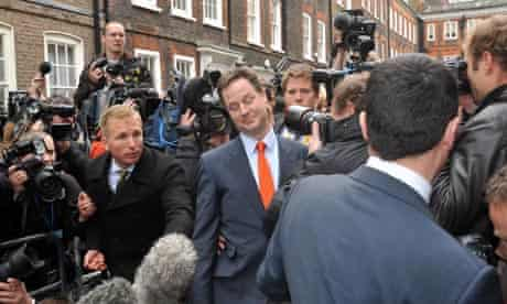 Nick Clegg arrives at party HQ this morning