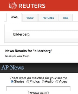 Screengrab of search for 'Bilderberg' on Reuters and AP