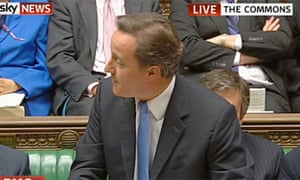 Screengrab from Sky News of David Cameron during prime minister's question on 16 June 2010