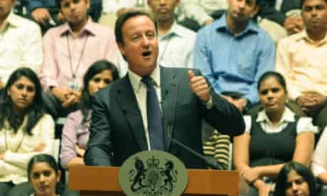 David Cameron gives a speech in Bangalore, India