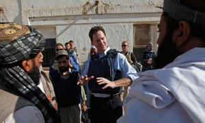 Nick Clegg visits the compound of the district governor of Nad Ali in Afghanistan