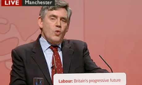 Screengrab from BBC News of Gordon Brown speaking in Manchester today