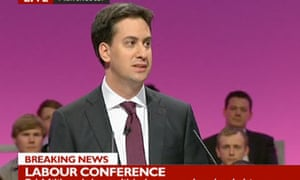 Screengrab from BBC News of Ed Miliband delivering his keynote speech at the Labour conference