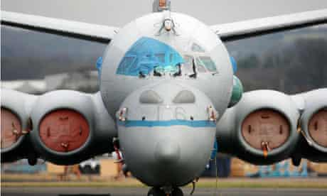 A Nimrod MRA4 aircraft on the ground at BAE's Woodford base near Manchester