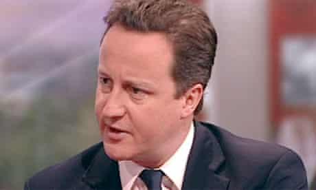 Screengrab of David Cameron on BBC Breakfast on 31 January 2011