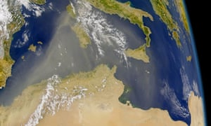 Satellite image of the north African coastline and the Mediterranean sea