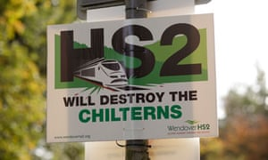 Poster protesting against the proposed HS2 rail link