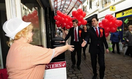 Ed Miliband and Labour candidate Dan Jarvis in Barnsley town centre ahead of Thursday's byelection
