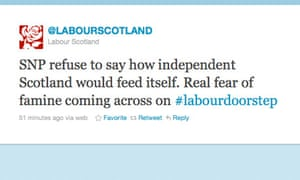 One of the LABOURSCOTLAND tweets that has angered the Scottish Labour party