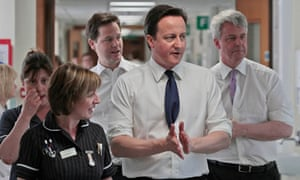 David Cameron, Nick Clegg and Andrew Lansley visit a hospital in Surrey