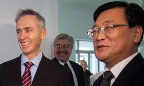 Associated Press president Tom Curley and Korean Central News Agency president Kim Pyong-ho