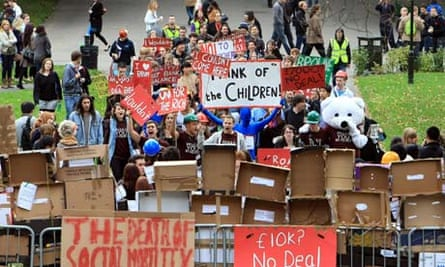 Students stage a protest at the University of Birmingham