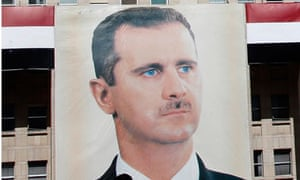 A picture of Syria's president, Bashar al-Assad on a building in Damascus