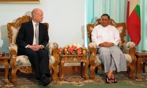 William Hague holds talks with Burma's foreign minister Wunna, Maung Wunna, in Naypyitaw