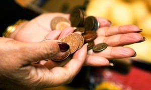 Buying food with worn coppers