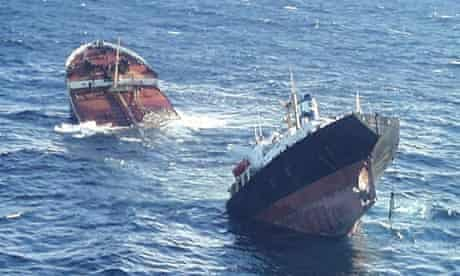 An aerial view of the Prestige sinking off the Spanish coast in 2002