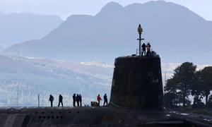 A nuclear submarine near the Faslane naval base
