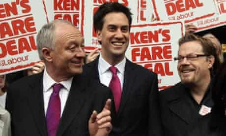 Ken Livingstone, Ed Miliband and Eddie Izzard