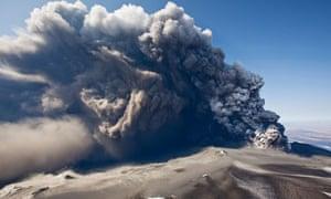 Eyjafjallajokull volcano erupting in Iceland