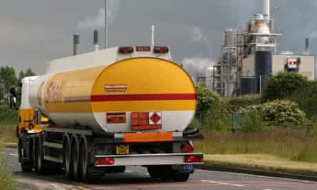 A Shell tanker departs a refinery