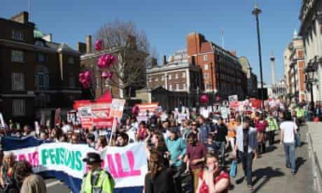 Teachers march against government's public sector pension plans