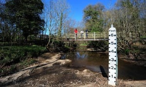 The Hodge Beck river near Kirkbymoorside in North Yorkshire