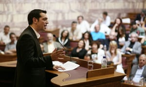 Alexis Tsipras in the Greek parliament