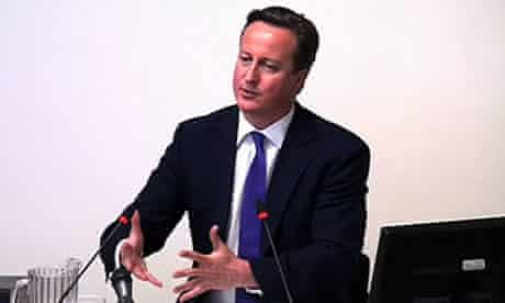 David Cameron gives evidence to the Leveson inquiry