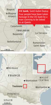 Map showing location of bank seige in France