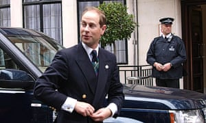 Prince Edward arrives to visit his father, Prince Philip, at the King Edward VII hospital in London