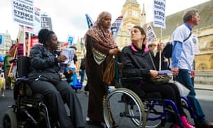 Protest by disabled people against benefits cuts in 2011