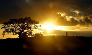 The sun rises in St Helens, Merseyside