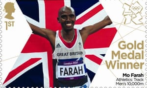Stamp celebrating Mo Farah's gold medal in the 10,000m