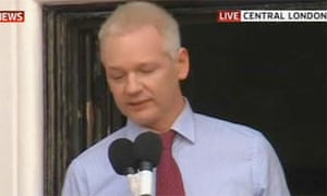Julian Assange speaks at the Ecuadorean embassy