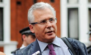 Baltazar Garzon delivers a statement outside the Ecuadorean embassy