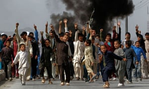 Afghan protesters during a demonstration in Kabul