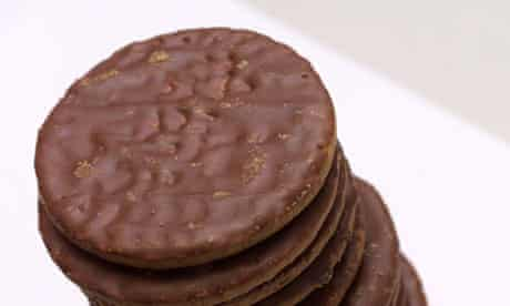 A pile of chocolate biscuits