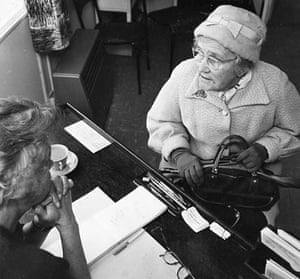 Citizens Advice at 70: A pensioner seeks advice at a Citizens Advice Bureau in the 1950s