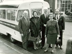 Citizens Advice at 70: A mobile Citizens Advice Bureau service is met by the mayor in the 1960s