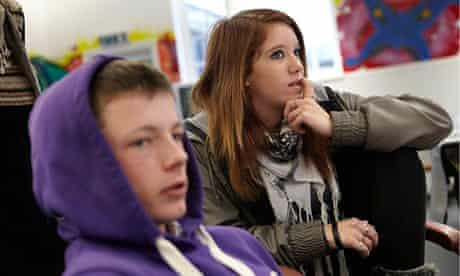 Teenagers at youth centre in deprived community
