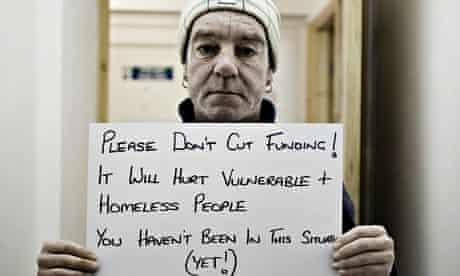 A recipient of threatened housing support services shares his views in a Photovoice project.