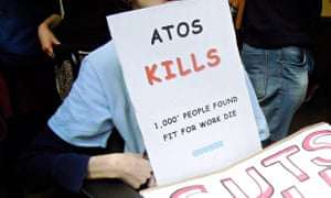 A protest against Atos which had the first contract to carry out work capability assessments.