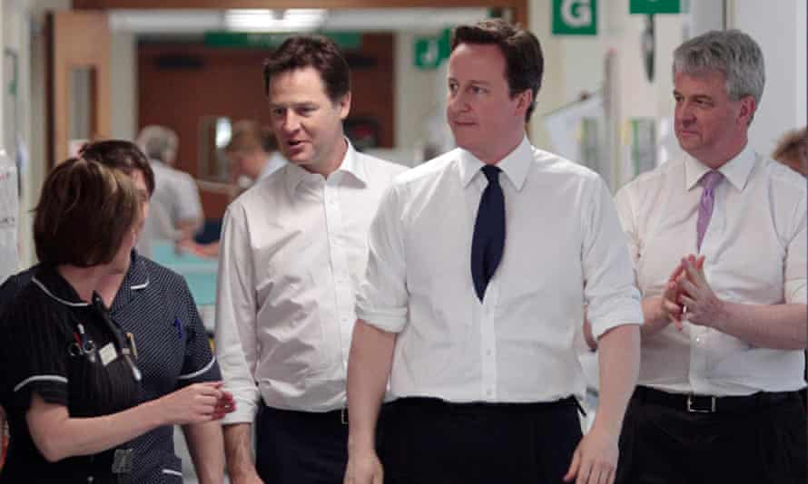 David Cameron, Nick Clegg and Andrew Lansley roll up their sleeves on a hospital visit in 2011