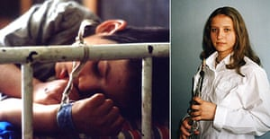 Montage showing child tied to bed at Romanian orphanage in 1990 (left) and 19-year-old Lacramioara Lungu (right), who started life at an orphanage and is now at music school