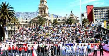 Footballers gather at the Homeless World Cup 2005 in Cape Town, South Africa