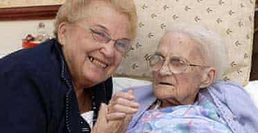 Esme Collins, 103, with her daughter, Esme Simpson, after her  eviction from a nusing hme in Worksop, Nottinghamshire